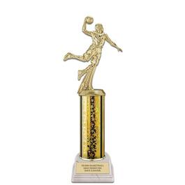 "11"" White HS Base Basketball Award Trophy"