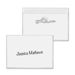 """3"""" x 4"""" Convention Cardholder w/ Safety Pin"""