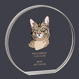 Round Acrylic Cat Show Award Trophy