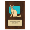 Custom Full Color Cat Show Plaque - Cherry Finish