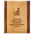Engraved Red Alder and Walnut Cat Show Award Plaque