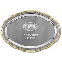 Scalloped Oval Cat Show Tray w/ Gold Border