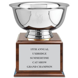 Revere Bowl Cat Show Award Trophy w/ Cherry Base