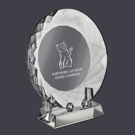 Optical Crystal Cat Show Award Plate w/ Stand