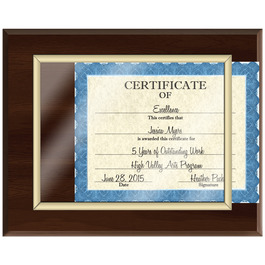 Certificate Plaque - Cherry