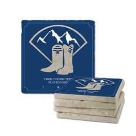 Western Boots Tumbled Stone Coasters