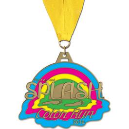 HH Color Run and Mud Run Award Medal w/ Grosgrain Neck Ribbon