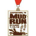HE Color Run and Mud Run Award Medal w/ Grosgrain Neck Ribbon