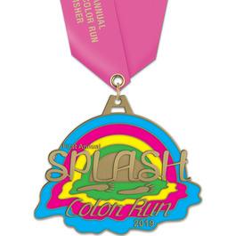 HH Color Run and Mud Run Award Medal w/ Satin Neck Ribbon