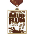 HE Color Run and Mud Run Award Medal w/ Satin Neck Ribbon