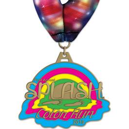 HH Color Run and Mud Run Award Medal w/ Millennium Neck Ribbon
