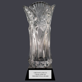 Elland Optical Crystal Award Vase w/ Attached Base