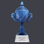 Blue Optical Crystal Award Trophy w/ Attached Base