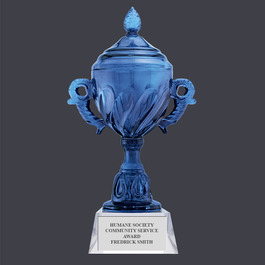 Blue Optical Crystal Award Trophy w/ Attached Base