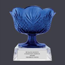 Blue Optical Crystal Award Bowl Trophy w/ Attached Base