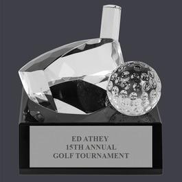 Optical Crystal Golf Award Trophy w/ Attached Black Optical Crystal Base