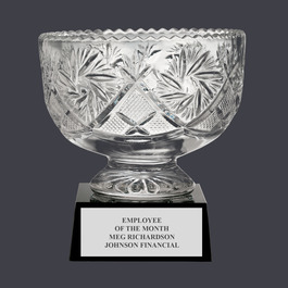 Sunburst Optical Crystal Award Bowl Trophy w/ Attached Base