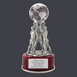 Crystal Globe Desk Award Trophy