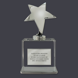 Silver Star Optical Crystal Desk Trophy