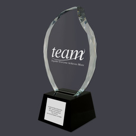 Optical Crystal Faceted Flame Trophy w/ Black Optical Crystal Base