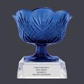 Blue Optical Crystal Dog Show Trophy Bowl w/ Clear Optical Crystal Base