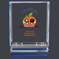 Full Color Acrylic Dog Show Trophy w/ Blue Reflective Base