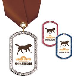 GEM Tag Dog Show Award Medal w/ Satin Neck Ribbon