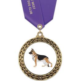 GFL Dog Show Award Medal w/ Satin Neck Ribbon