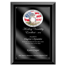 Full Color Dog Show Award Plaque - Black w/ Acrylic Overlay