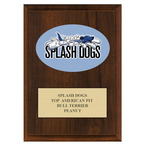 Full Color Dog Show Award Plaque - Cherry Finish w/ Engraved Plate