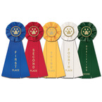 Stock Paw Print Dog Show Rosette Award Ribbon
