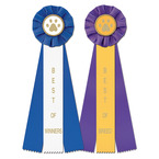 Stock Paw Print Dog Show Rosette Award Ribbon