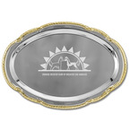 Scalloped Oval Dog Show Award Tray w/ Gold Border