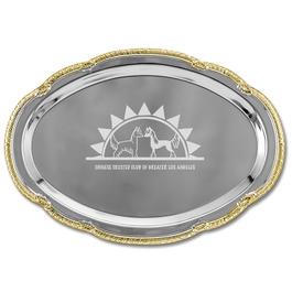 Scalloped Oval Dog Show Award Tray w/ Gold Border