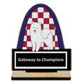Custom Shape Birchwood Dog Show Award Trophy w/ Natural Birchwood Base