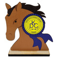 Horse Head Shape Birchwood Dog Show Award Trophy w/ Natural Birchwood Base