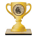 Loving Cup Shape Birchwood Dog Show Award Trophy w/ Natural Birchwood Base