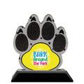 Paw Print Shape Birchwood Dog Show Award Trophy w/ Black Base