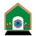 Dog House Shape Birchwood Dog Show Award Trophy w/ Black Base