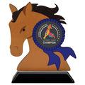 Horse Head Shape Birchwood Dog Show Award Trophy w/ Black Base