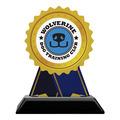 Rosette Shape Birchwood Dog Show Award Trophy w/ Black Base
