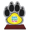 Birchwood Paw Print Dog Show Award Trophy w/ Rosewood Base