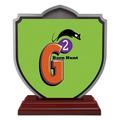 Shield Shape Birchwood Dog Show Award Trophy w/ Rosewood Base