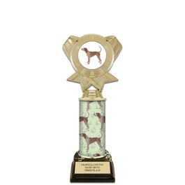 "10"" Black HS Base Award Trophy w/ Dog Column & Insert Top"
