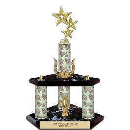 """15"""" Black Finished Award  Trophy w/ Dog Column, Wreath & Trim"""