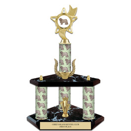 "15"" Black Finished Award  Trophy w/ Dog Column, Wreath, Trim and Insert Top"