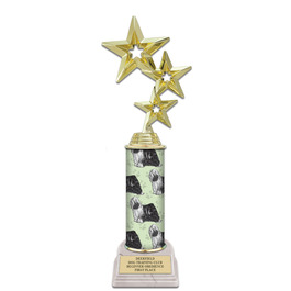"11"" White HS Base Award Trophy w/ Dog Column"