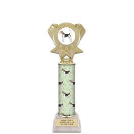"12"" White HS Base Award Trophy w/ Dog Column & Insert Top"