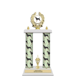 "15"" White Finished Award Trophy w/ Dog Column, Trim & Insert Top"