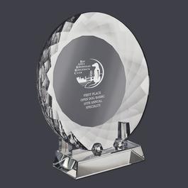 Optical Crystal Dog Show Award Plate w/ Stand